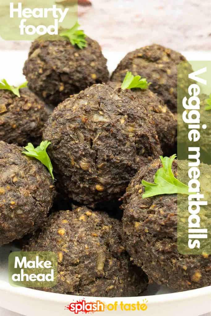 Vegetarian meatball image for Pinterest.