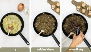 Process shots for making vegetarian meatballs, pan fry onion, add lentil and mushroom mixture pan fry, then add red wine and tamari soy sauce.