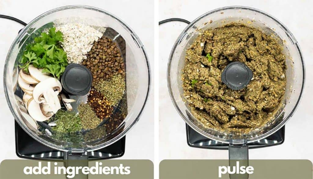 Process shots for making vegetarian meatballs, add ingredients to food processor and pulse.