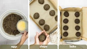 Process shots for making vegetarian meatballs, add eggs, shape the meatless balls and bake in the oven.