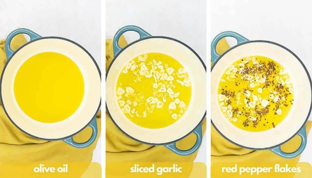 Process shots spaghetti aglio e olio, add olive oil, sliced garlic and red pepper flakes.