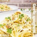 Homemade spaghetti aglio e olio image for Pinterest.
