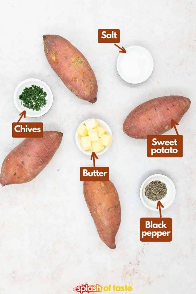Ingredients for baked sweet potato recipe, chives, butter, kosher salt, ground black pepper and sweet potato.