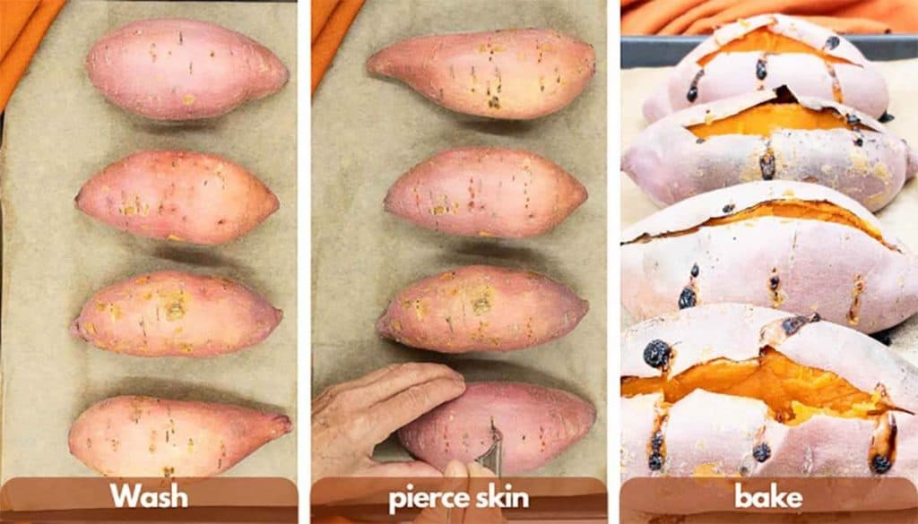 Process shots for how to make a baked sweet potato, wash the sweet potato, poke it with a fork and roast in the oven.