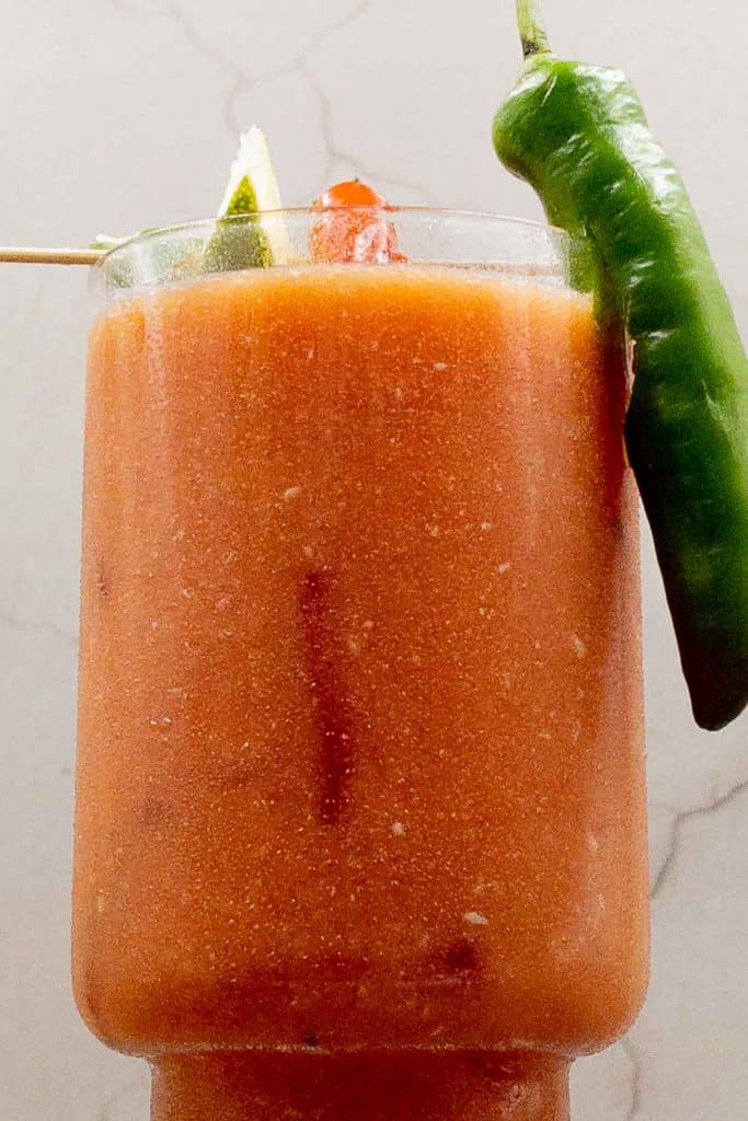 Close up of homemade Bloody Maria.