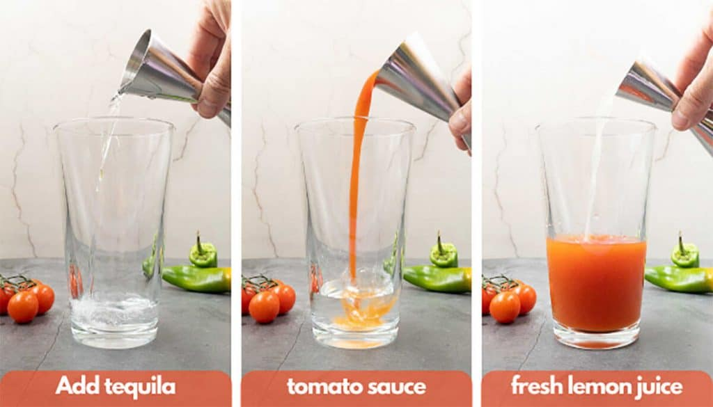 Process shots for how to make a Bloody Maria cocktail add tequila, add tomato juice and fresh lemon or limejuice