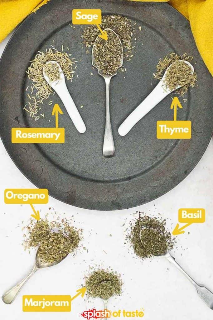 Ingredients to make homemade Italian seasoning, basil, oregano, sage, thyme, rosemary and marjoram.