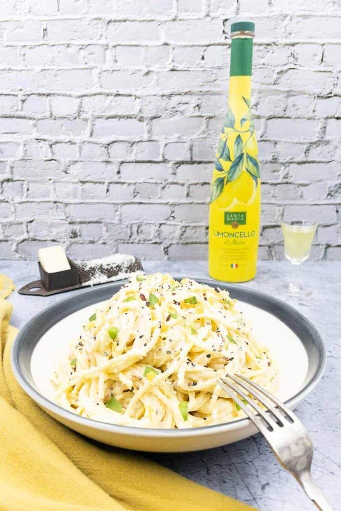 A bowl of homemade pasta al limone.