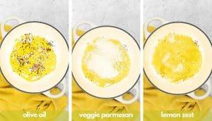 Process shots for making lemon pasta recipe add olive oil, vegetarian parmesan and lemon zest.