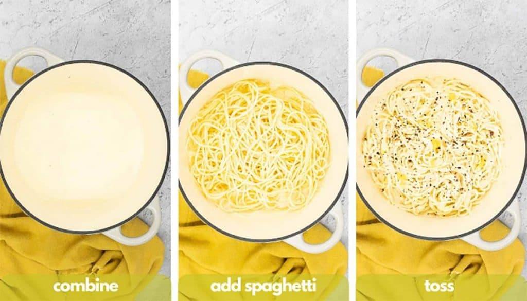 Process shots for making lemon pasta recipe combine, add al dente spaghetti, toss in creamy lemon pasta sauce and heat on medium heat.