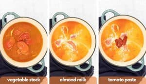 Process shots for how to making pink sauce pasta, add vegetable stock, almond milk and tomato paste.