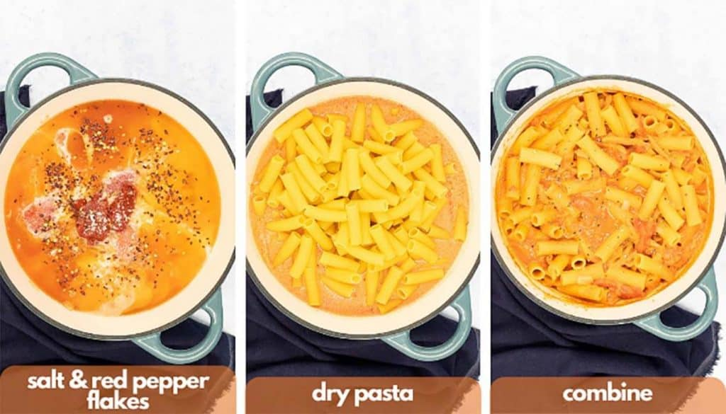 Process shots for how to make pink sauce pasta add kosher salt, red pepper flakes, dry pasta and combine.