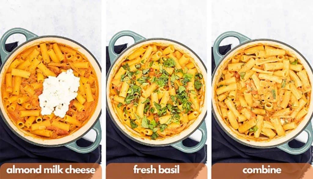 Process shots for how to make pink sauce pasta add almond milk cheese, fresh basil leave and combine.