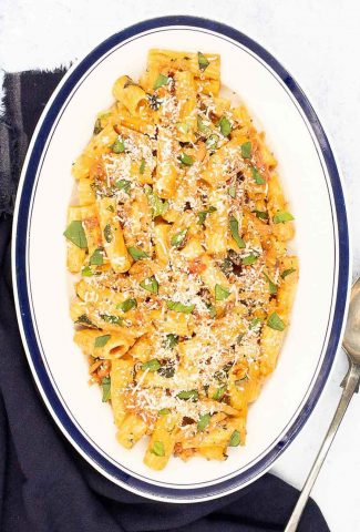 Pink sauce pasta in a large serving dish ready to eat.