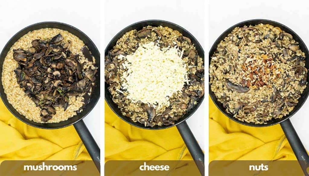 Process shots for making mushroom risotto, add mushrooms, cheese and nuts.