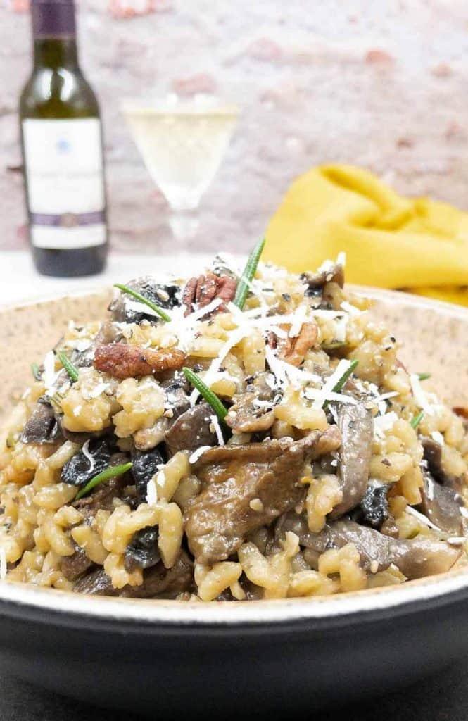 A delicious bowl of creamy mushroom risotto .